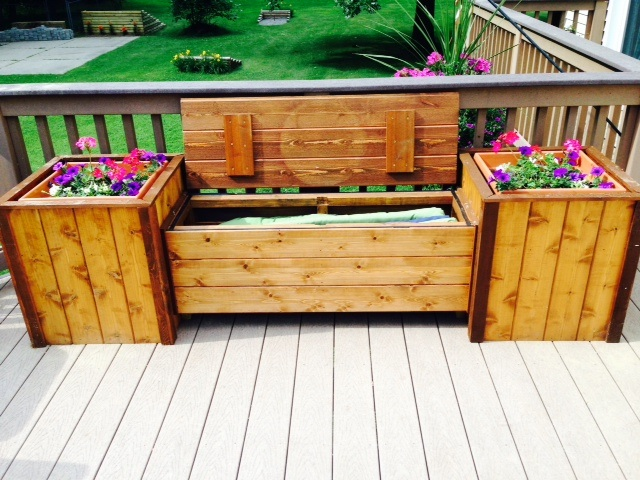 Large Storage Bench w/planters